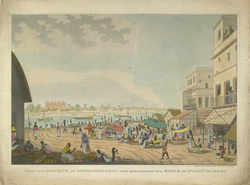 'View of a Mosque at Moorshedabad [Murshidabad] with representation of a bazaar or Indian market'.